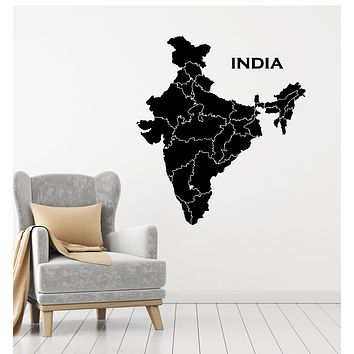 Vinyl Wall Decal Travel India Map Country Hinduism Tourist Geography Stickers Mural (g250)