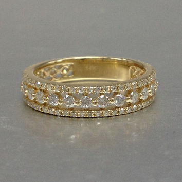 1.10ct Diamond Wedding Ring,Solid 14K Yellow gold,Anniversary Ring,Eternity Band,stackable,engagement ring,Matching band,three band in whole