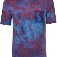 Purple And Red Wash Pocket T-shirt - Striped & Patterned T-Shirts - Printed T-Shirts - Men's T-shirts  - Clothing