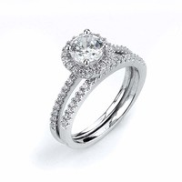 1 Carat Single Round Halo Cubic Zirconia Engagement Ring with Matching Band Bridal Set by CZ Sparkle Jewelry®