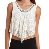 Rhinestone Lace Swing Crop Top by Charlotte Russe - Ivory