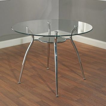 Mabel Metal Dining Table with Glass Top - Walmart.com
