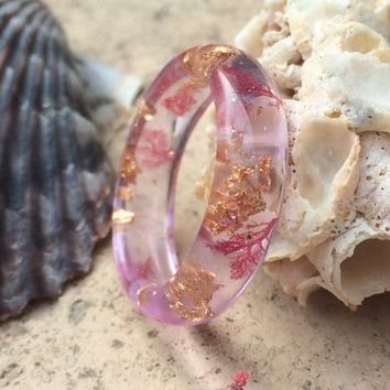 Clear lavender sea plant ring. Gold leaf and sea plant resin ring. Ocean ring