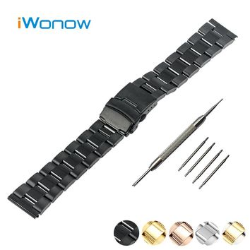 Stainless Steel Watch Band 18mm 20mm 22mm 24mm for Fossil Safety Buckle Watchband Strap Wrist Belt Bracelet Black Gold Silver