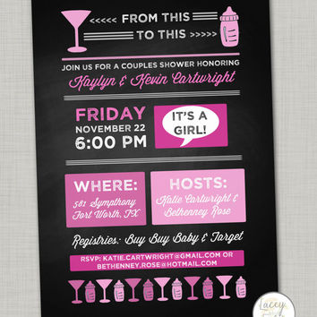 Couples baby shower invitation digital- cocktail shower invite- coed baby shower- girl baby shower invitation- chalkboard baby shower invit