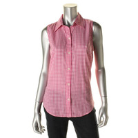 American Living Womens Cotton Checkered Button-Down Top