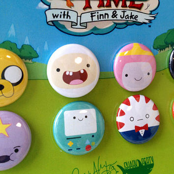 "Adventure Time Button Set - Finn, Jake and all your favourites on 1"" pin-back buttons with a sturdy card backer, makes a great gift"