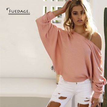 Fuedage Autumn Winter New Long Sleeve  Sweater Women Pullover 2017 Sexy Slash Neck Tops Elegant Off Shoulder Girls Sweaters