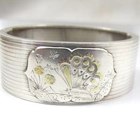 Victorian Bracelet, Sterling Silver Wide Cuff, Rose Gold Butterfly, Aesthetic Movement Bangle, Antique Victorian Jewelry