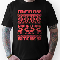 Merry Christmas Bitches 8-Bit Ugly Sweater Pattern Unisex T-Shirt