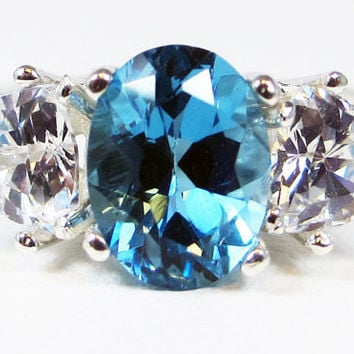 London Blue Topaz and CZ Ring Sterling Silver 925, December Birthstone Ring, Topaz Engagement Ring, Oval Blue Topaz Ring, 925 Ring