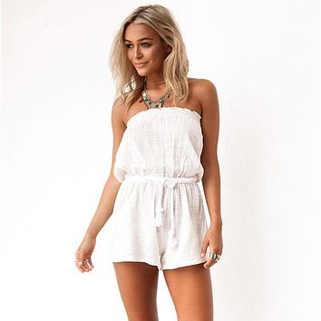 Women Casual Fashion Sleeveless Strapless Solid Color Romper Jumpsuit Shorts
