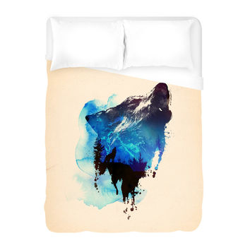 Alone As a Wolf Duvet Cover