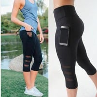 ACTIVEWEAR MESH PANEL LEGGINGS W/POCKET