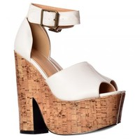 Onlineshoe Open Toe Strappy Platform Demi Wedge Party Cork High Heels - Black, White, Tan - Onlineshoe from Onlineshoe UK