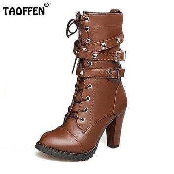 TAOFFEN Ladies shoes Women boots High heels Platform Buckle Zipper Rivets Sapatos femininos Lace up Leather boots Size 34-43 1