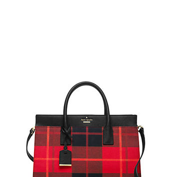 Kate Spade Cameron Street Plaid Candace Satchel Cherry Liqueur Multi
