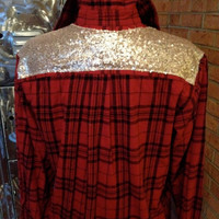 Flannel Sequin Embellished Shirt - Cowgirl Bling - Boho Sparkle - altered sequin pocket - reconstructed upcycled