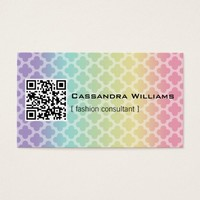 Rainbow Quatrefoil QR CODE Business Cards