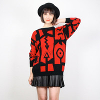 Vintage Red Black Sweater 1980s 80s New Wave Jumper Chunky Knit Pullover Southwestern Print Mod Art Deco Cosby Sweater M L Large XL