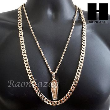 "MEN GOLD KING TUT MUMMY CHARM CUT 30"" CUBAN LINK CHAIN NECKLACE S084G"