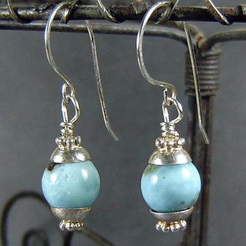 Caribbean Blue Larimar Drop Earrings in Sterling Silver, Rare, Natural Larimar Stone, Dominican Larimar, Gift for Her, High End Jewelry