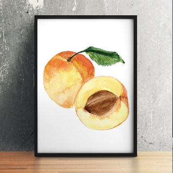 Peach print Kitchen decor Nursery poster Fruit print ACW226