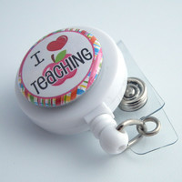 Magnetic Retractable ID Badge Reel - I Love Teaching White Teacher Badge Reel