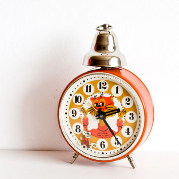Childrens Alarm Clock, Cat and Mouse Play, Desk Clock, Russian Alarm Clock, Kids Room Clock, Nursery Decor, Bright Orange, ohtteam summer