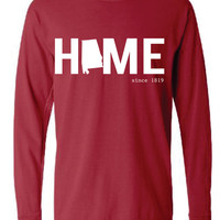 Alabama HOME Comfort Color Short LONG SLEEVE T-shirt.  Show Your state pride and state love