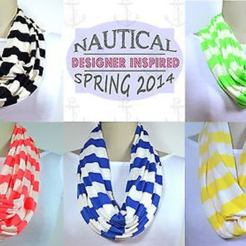 Nautical Infinity Striped Scarf Black, Neon Red, Green, Yellow, Cobalt