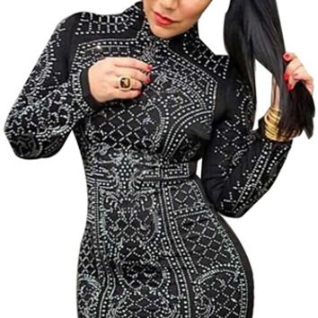 Break The Spell Black Silver Long Sleeve Mock Neck Stud Nailhead Bodycon Mini Dress