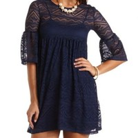 Bell Sleeve Lace Babydoll Dress by Charlotte Russe