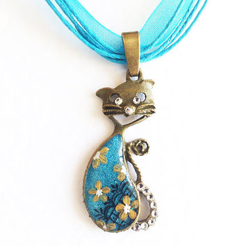 Gift for Pet Lover Pendant Kitten Shusha. Hand painted cat kitten flower teal blue turquoise golden  flower