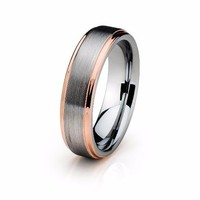 Tungsten Wedding Band Mens Wedding Ring Anniversary Band Grooms Ring Man Rose Gold Engagement Band Handmade His Hers Brushed 6mm 18k Rose Gold Ring