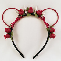 Flower Punk Bear/Mouse Ear Headband - Red