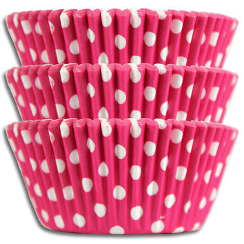 Bright Pink Polka Dot Baking Cups