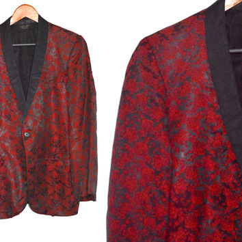 Vintage 40s First Nighter Formals New York Floral Red Rose Metallic Rockabilly Tuxedo Jacket Blazer