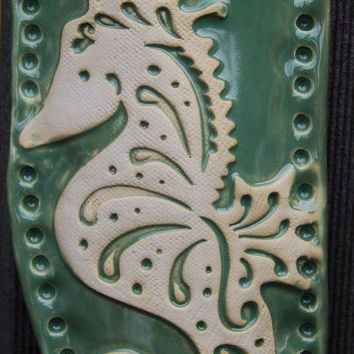 Seahorse Wall Pocket, Wall Hanging, Hanging Vase, Nautical Ocean Themed READY TO SHIP Handmade by Big Dog Pots Pottery bigdogpots