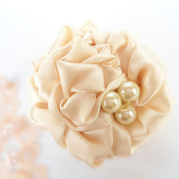 Rosette Flower Hair Clips, Ivory Satin Fabric Flower Hair Accessory, Pearl Beads, Adult Flower Hair Alligator Clips, Handmade Accessories
