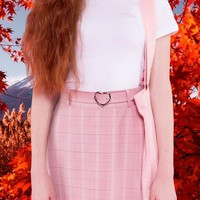 Heart buckle plaid skirt