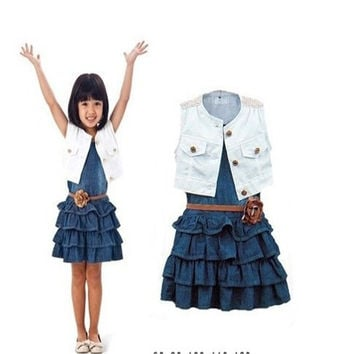 Retail new arrival baby girl`s Children's clothing white vest denim summer sleeveless girl navy denim dress + coat + belt children clothes