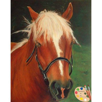 Custom Painted Horse Portraits from Your Photo - Brown Horse Portrait  43