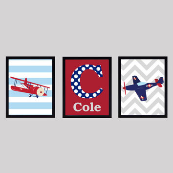 Monogram Letter and Name, Navy Red and Gray, Airplanes, CUSTOMIZE YOUR COLORS, 8x10 Prints, set of 3, nursery decor print art baby decor