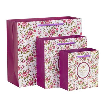 5PCS Beautiful romantic Flower Gift paper bag packaging shopping wedding birthday Mother's day Carrier bag fashion Clothes candy