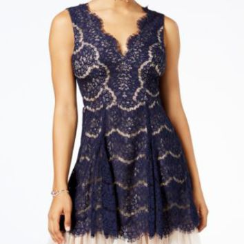 Trixxi Juniors' Scalloped Lace Fit & Flare Dress | macys.com