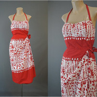 50s Hawaiian Floral Sarong Style Halter Dress, 36 inch bust, Vintage 1950s Red & White Cotton VLV Summer Dress