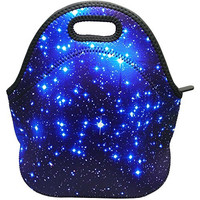 Blue Shining Stars Waterproof Outdoor Carrying Lunch Tote Bag Neoprene Lunchbox Insulated School Travel Outdoor Thermal, By UHQ