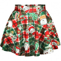 Christmas Plaid Print High Waist Pleated Mini Skirt