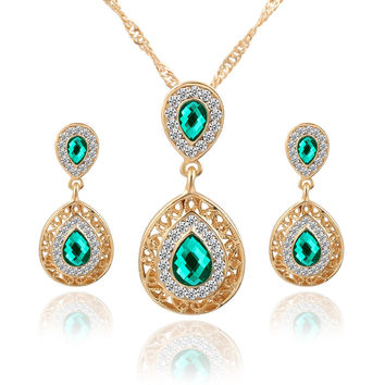 Jewelry New Arrival Gift Stylish Shiny Crystal Earrings Hot Sale Set Water Droplets Pendant Necklace [10794238983]